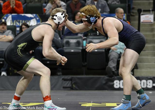 160A 1st Place Match - Zach Schneider (Caledonia-Houston) 37-3 won by decision over Colton Krell (Westfield Razorbacks) 38-4 (Dec 9-2) - 180303cmk0267