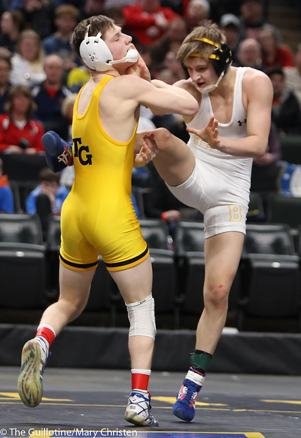 1st Place Match - Mitchel Petersen (Byron) 42-2 won by decision over Jake Svihel (Totino-Grace) 55-2 (Dec 8-7). 180303CMC6337