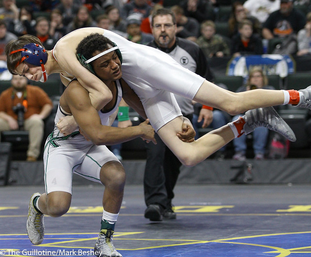 126A 1st Place Match - Michael Suda (Pipestone Area) 40-3 won by decision over Blake Legred (United South Central) 39-6 (Dec 13-9) - 180303cmk0090