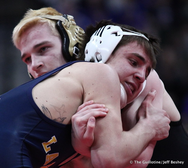 Semifinal - Brady Gross (Apple Valley) 43-8 won by fall over Curtis Lemair (Prior Lake) 39-4 (Fall 4:20). 180303AJF0286