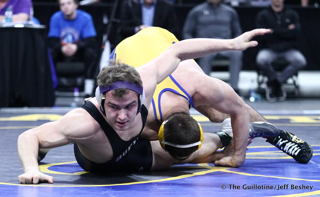 1st Place Match - Trey Rogers (Hastings) 49-0 won by major decision over Jacob Scherber (Buffalo) 34-2 (MD 17-7). 180303CJF0718