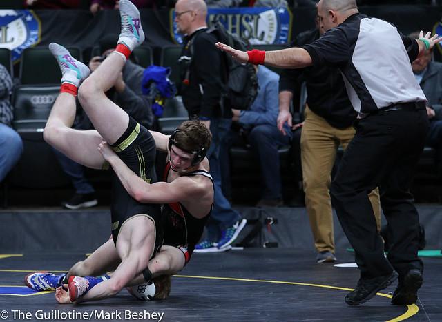 160A Semifinal - Zach Schneider (Caledonia-Houston) 37-3 won in sudden victory - 1 over Kaden Spindler (West Central Area-Ashby-Brandon-Evansville) 44-4 (SV-1 11-9) - 180303amk0063