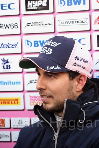 Sergio Perez is interviewed during Formula One Winter Testing 2018