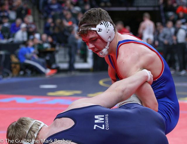 Semifinal - Jacob Bennett (Zumbrota-Mazeppa) 47-4 won by decision over Jake Erckenbrack (New York Mills) 36-5 (Dec 4-3) - 195A180303amk0087