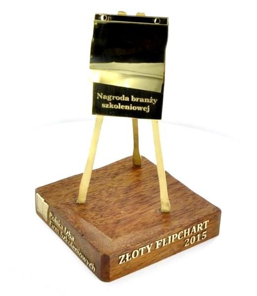 statuetka PIFS - litery wycięte z mosiądzu naklejone na drewno