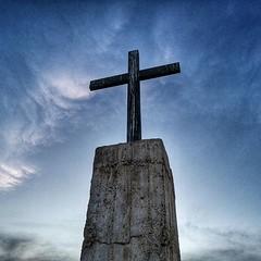 Crosses in the Judean Desert signaling the presence of the Saint George Khoziba Monastery