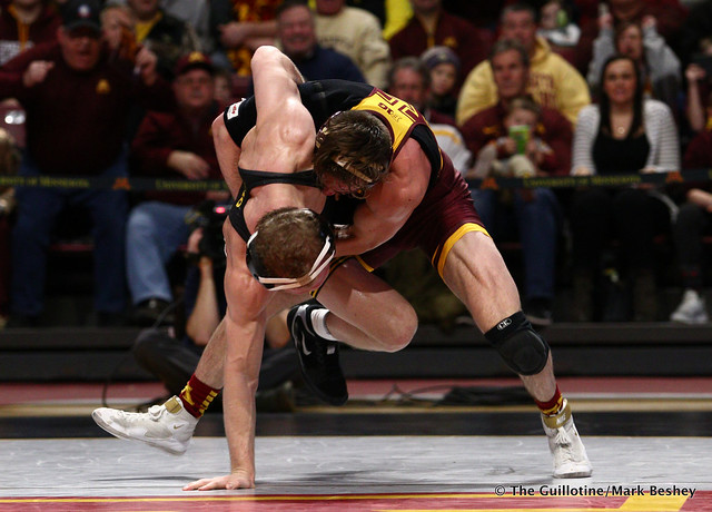 157 #5 Kaleb Young (Iowa) dec. 9 Steve Bleise (Minnesota) 7-1. 190113AMK0017