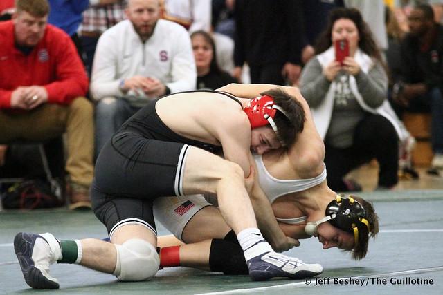 132 Semifinal - Ryan Sokol (Simley) 13-0 won by decision over Mitchel Petersen (Byron) 10-2 (Dec 7-3). 181215AJF0254