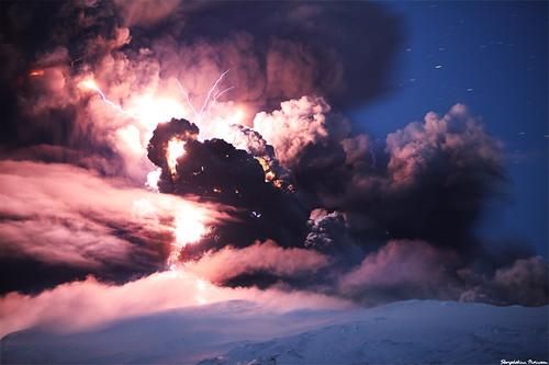 Evil Forces, Eyjafjallajökull Erupting Volcano - Iceland by skarpi - www.skarpi.is