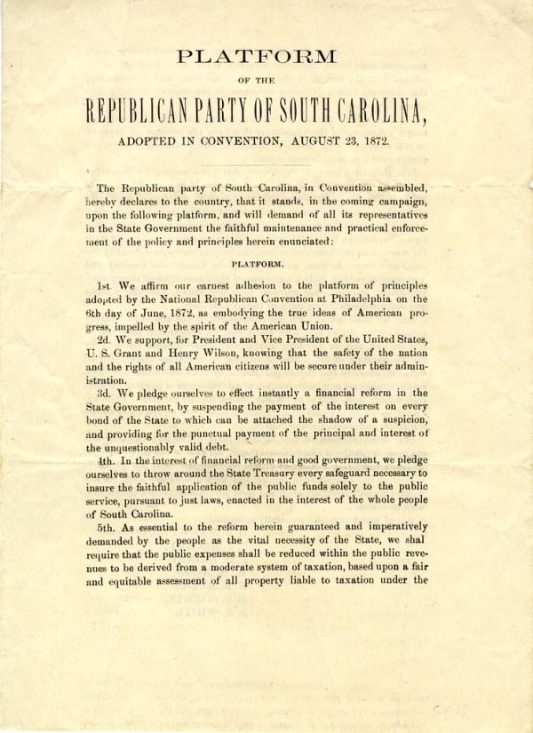 Platform of the Republican Party of South Carolina, adopte ...