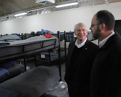 U.S. Sen. Roger F. Wicker and Jackie Kem look at a Afghan National Police barracks facility by NATO Training Mission-Afghanistan