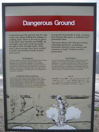 dangerous ground sign at yellowstone national park