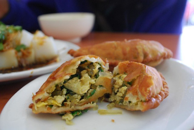 正宗北方韭菜盒 Chives Pan Cake - insides - Happy Dumpling AUD3.50