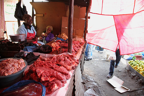 Beef and pork sellers in Maputo's traditional market