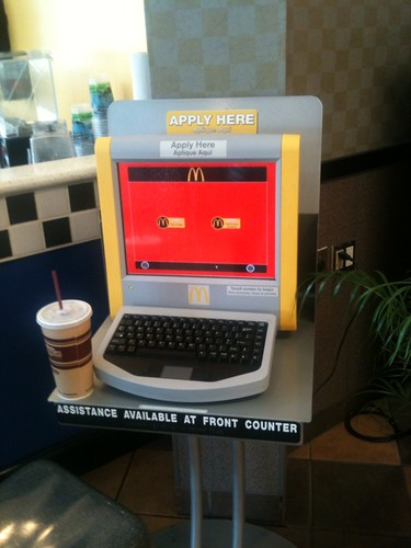 "McD @ rest area has this ""Apply for a job"" machine with unintentionally ambivalent expression:"