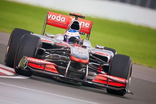 Jenson Button struggles with his McLaren in Friday Practice 1.