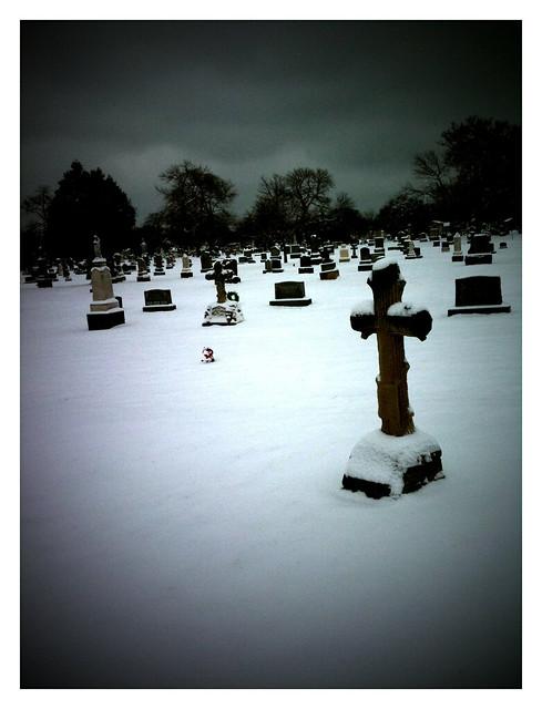 Stark beauty of snowy cemetery