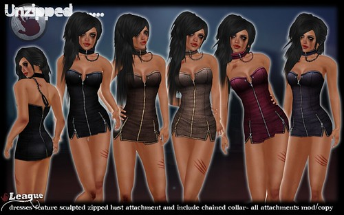 *League* Unzipped Leather Dresses