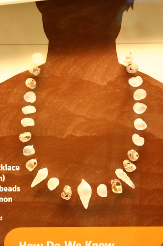 Shell bead necklass (reconstruction) with 10 shell beads from Cro-Magnon