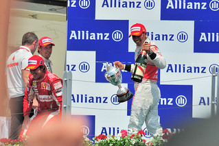 2010 Canadian Grand Prix Podium: Hamilton, Button, Alonso
