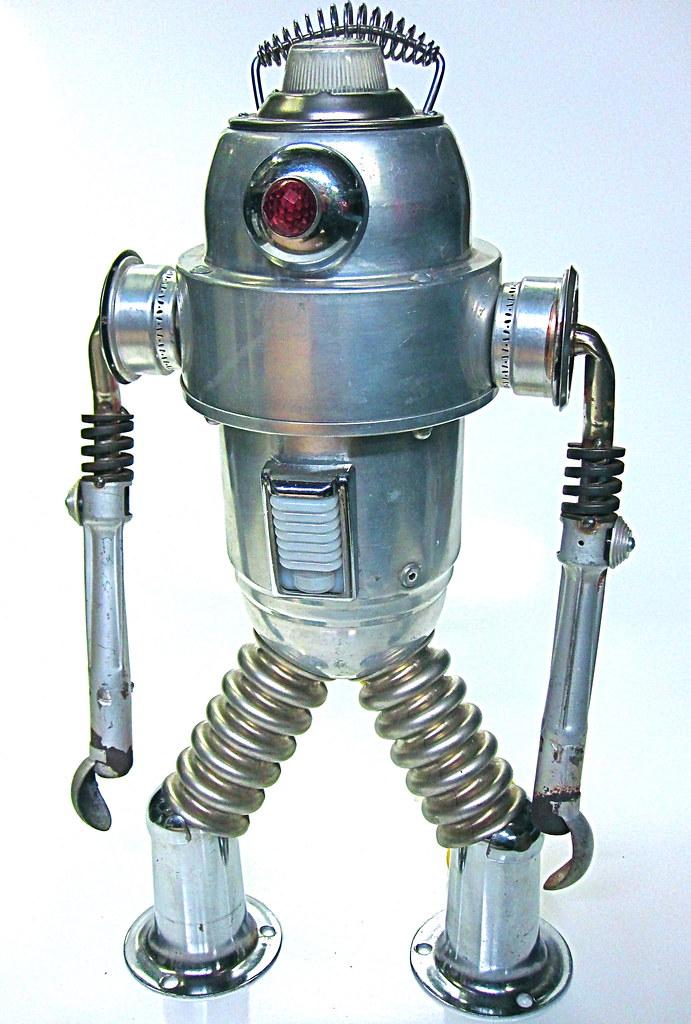 Mr Fog found object robot sculpture
