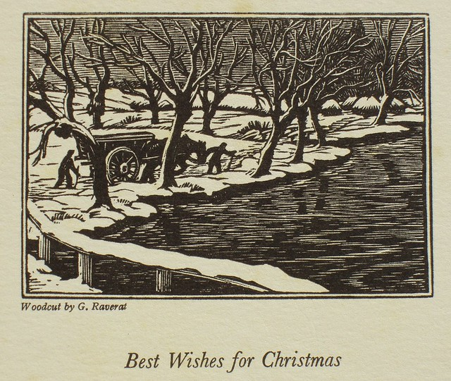 Signed Woodcut By Gwen Raverat Printed As A Christmas Card