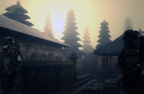 Bali temples in the morning fog