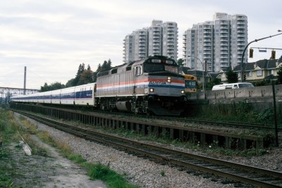 Amtrak F40 383 in Vancouver, 1996.