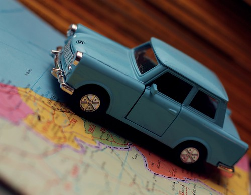 Toy Trabant traveller car on map