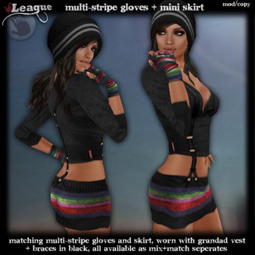 *League* MultiStripe Skirt & Gloves
