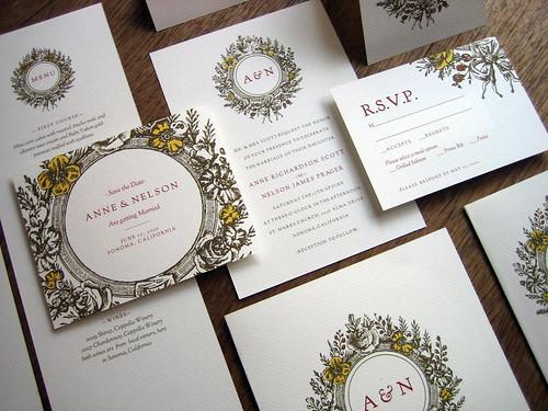 Monogram complete printalbe wedding invitation set