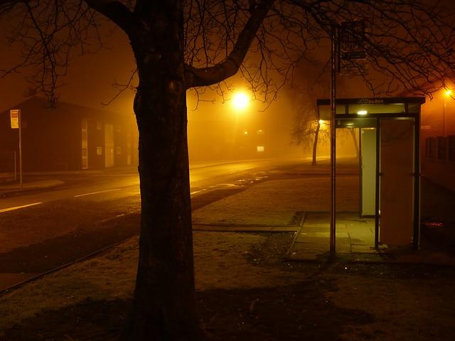 bus shelter on a frosty foggy night