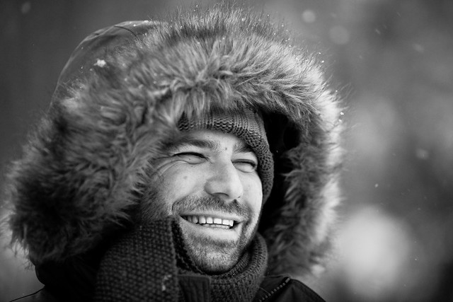 a laugh in the snow