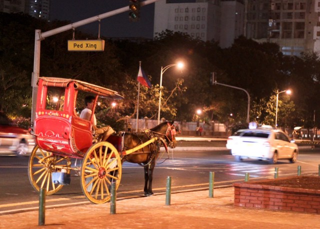 Calesa in front of Rizal Park (at night)
