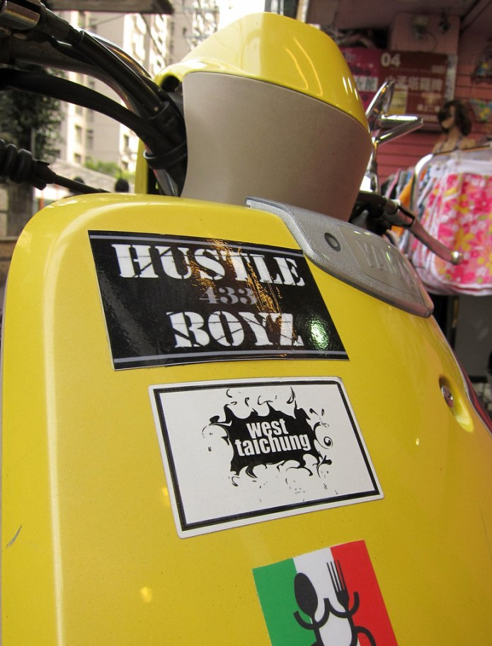 sticker on scooter