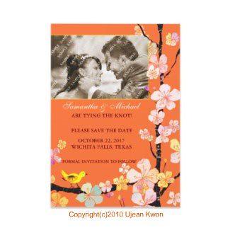Cherry Blossom & Bird: Wedding Save-the-Date Photo Invitations