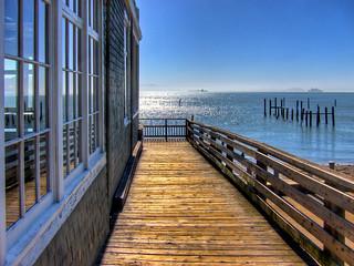 San Francisco Bay View from Sausalito Boardwalk - iPad Wallpaper
