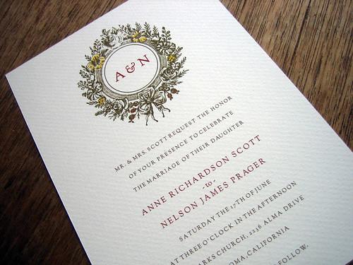 Monogram printable wedding invitation