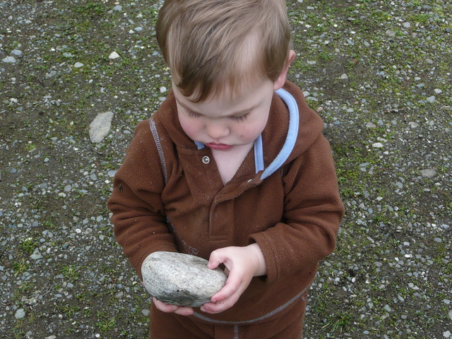 Big rock, little boy
