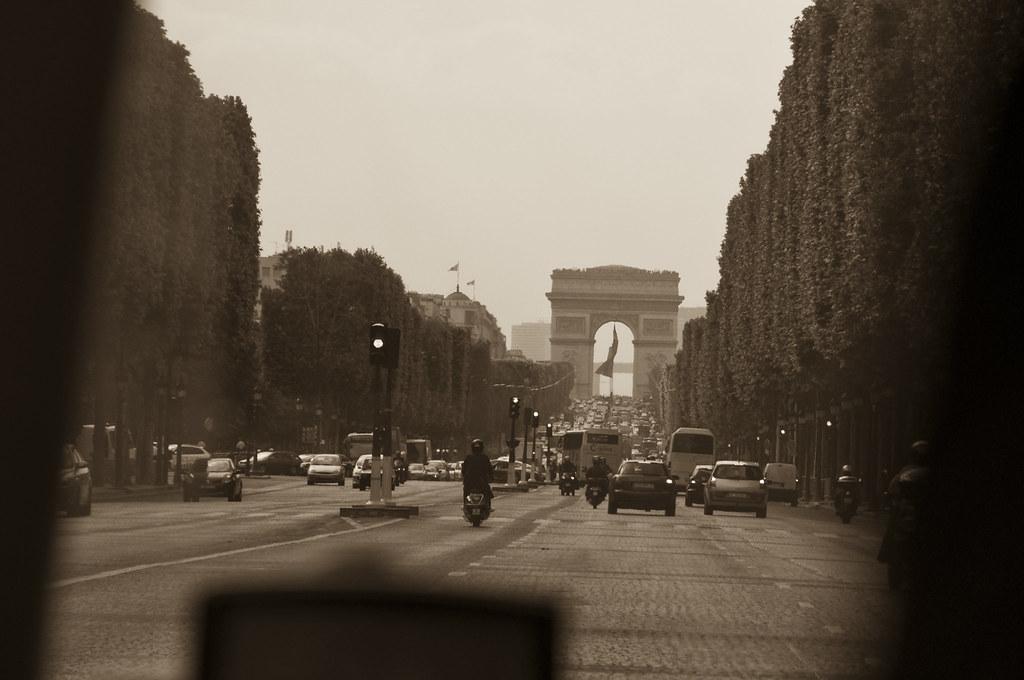 Driving down Champs Elysées