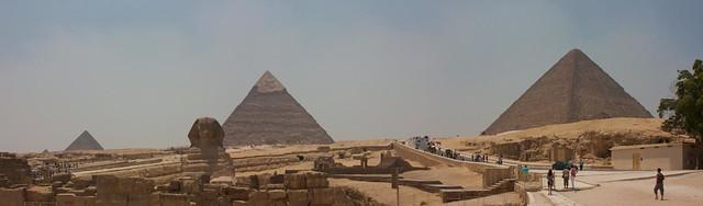 Panoramic view of Giza pyramids