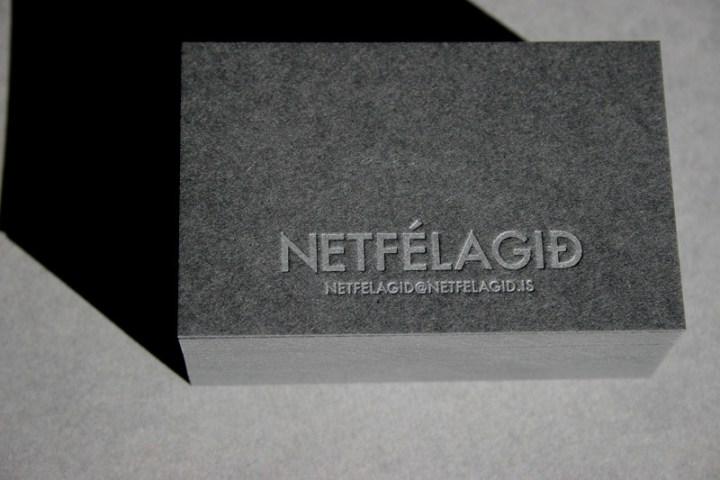 Silver on Black Letterpress Business Card
