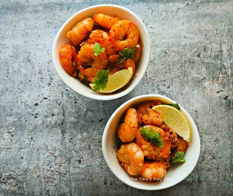 Butter and Garlic Fried Prawns with chilli flakes, olive oil and lime