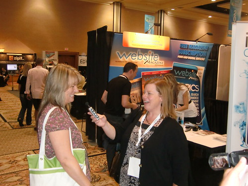 Lisa Picarille conducts an interview at BlogWorld 2010