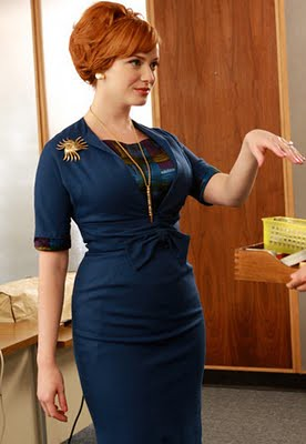 Joan Holloway in a gorgeous blue dress - Fashion of Mad Men