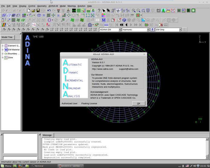 working with ADINA System 9.3.1 Win-Linux x64