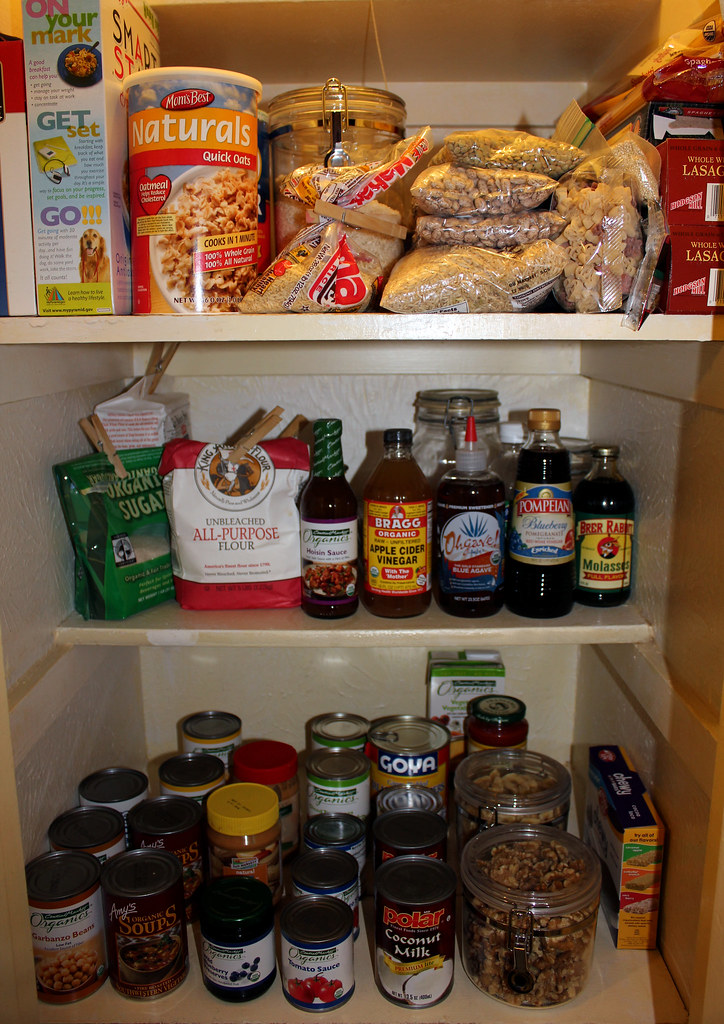 A stocked vegan pantry