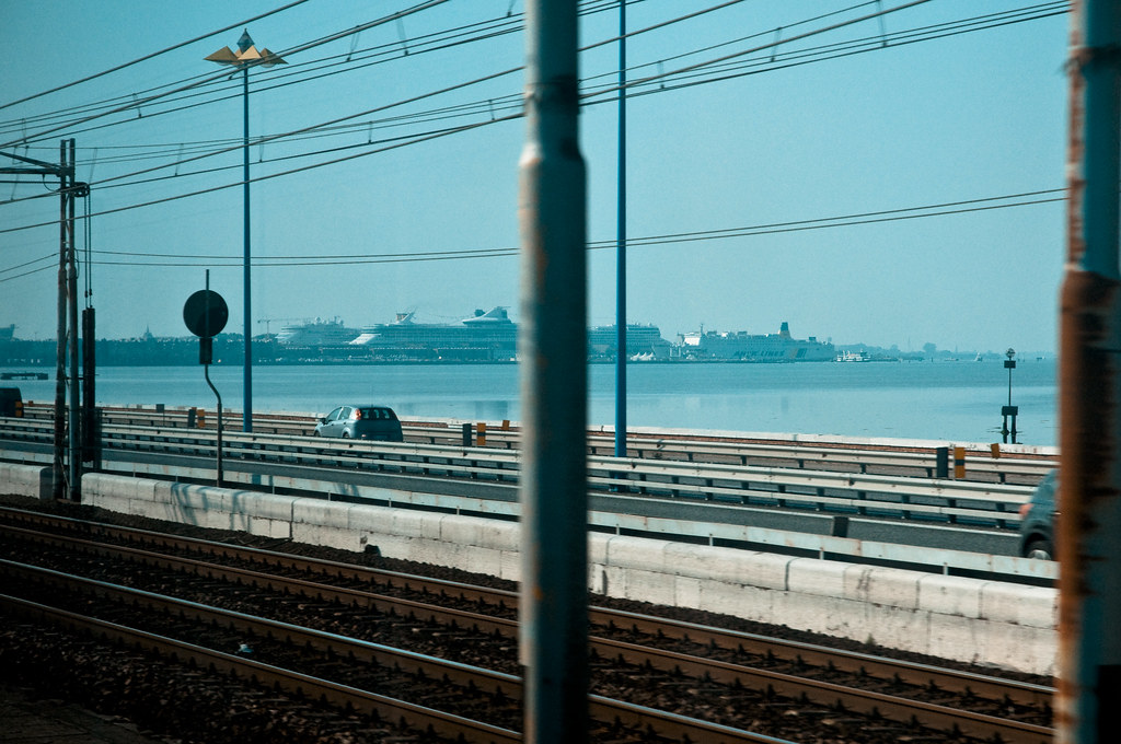 Crossing the Rail Causeway to Venice