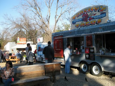 Food trailers at South Austin Trailer Park and Eatery