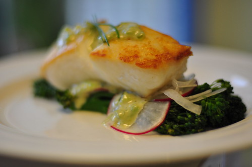 Wild Halibut over Broccolini